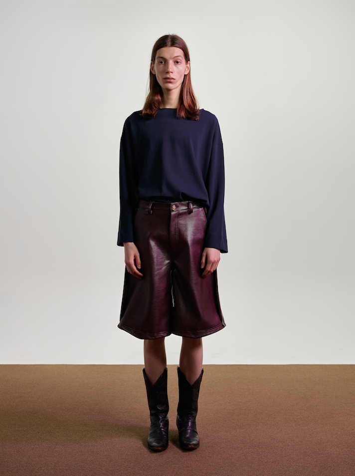 Faux Leather Culotte Pants in Burgundy Made-To-Order