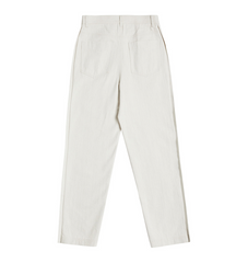 Two-Toned Twill Pants in Off-White  Made-To-Order