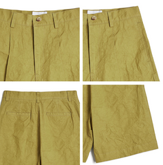Crinkled Shorts in Mustard
