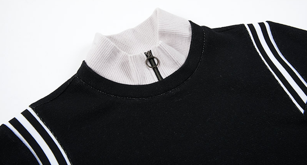 Shoulder Rib Zipper Pull-over