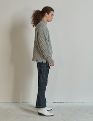 Damage Washed Wool Knit Gray