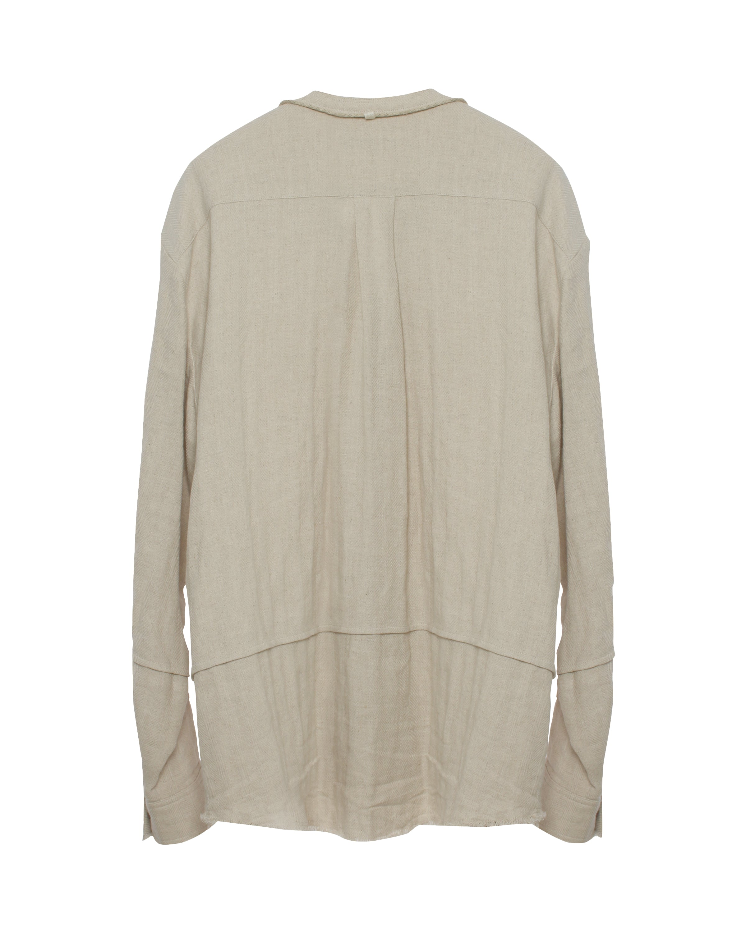 Cut Off China Collar Shirt Beige