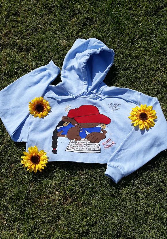 Numbah 5 x Assata Shakur Hand Painted Crop Hoodie