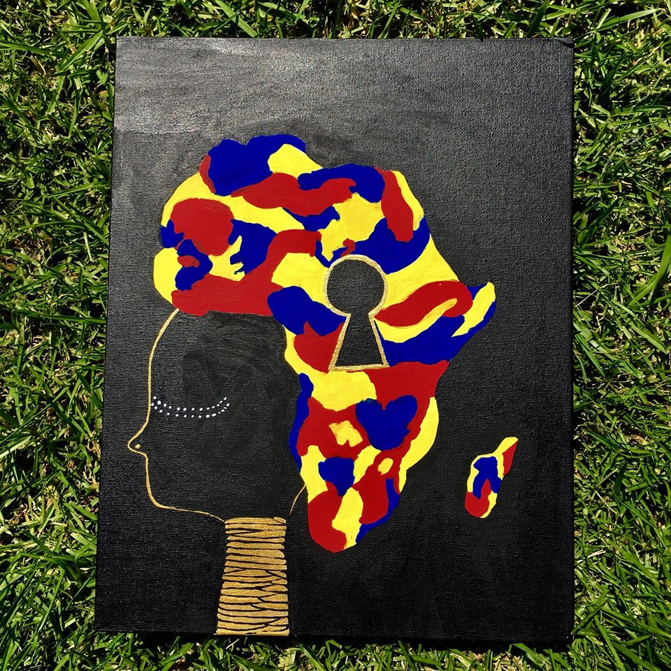 Hand Painted Wall Canvas Color Block Africa