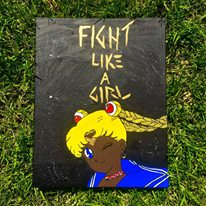Hand Painted Wall Canvas - Black Sailor Moon