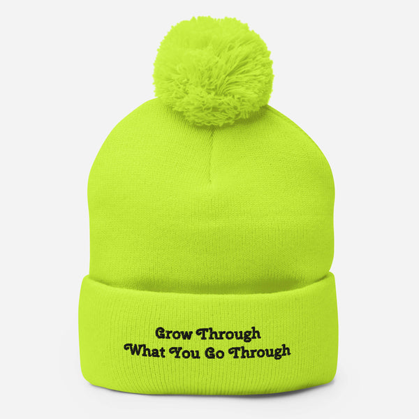 "Affirmation ""Grow"" Pom-Pom Beanie"