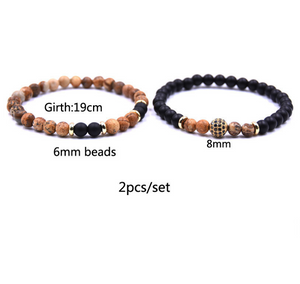 Soul Mates Duo - Natural Stone Bracelet Set