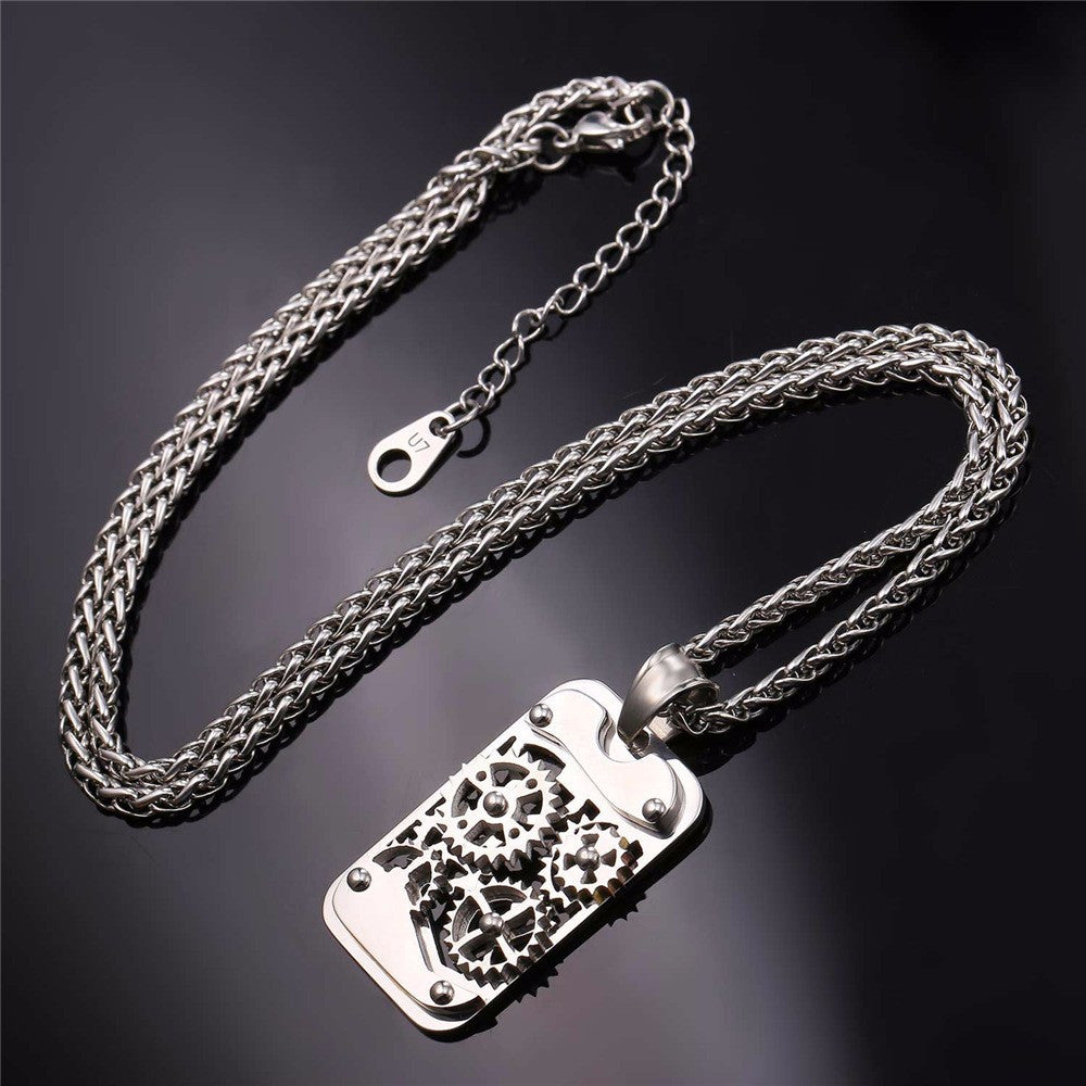 accessories steel machine item from pendant movie for and series logo on american european gear ingranaggi fashion necklace war women necklaces in men stainless jewelry
