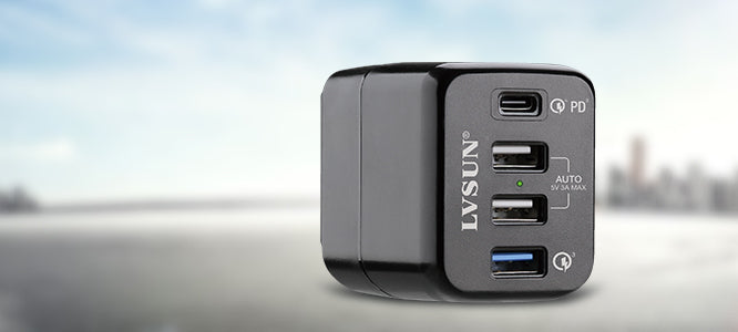 4-port usb quick charger with type-c
