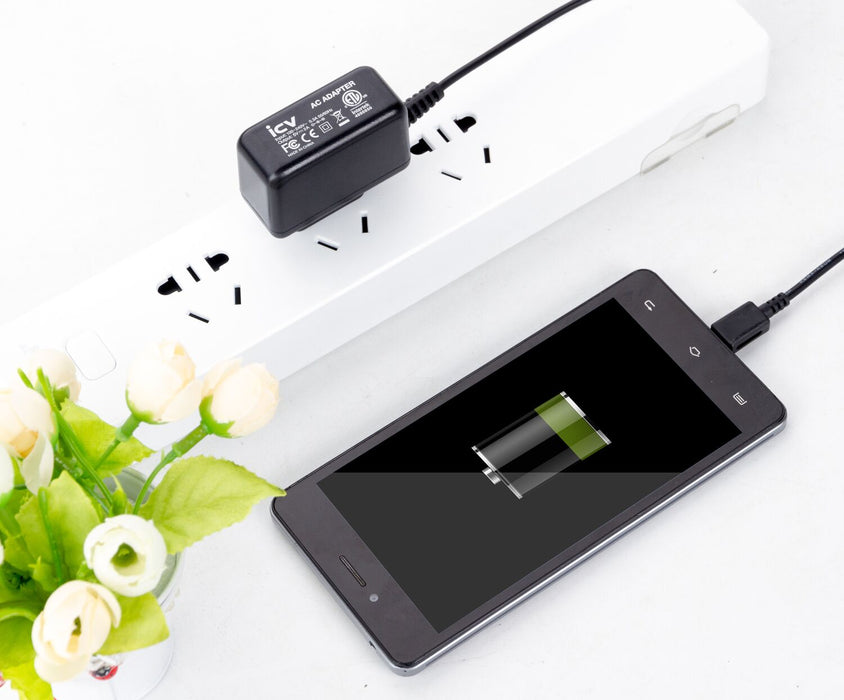 Micro Wall Travel Charger 5V 2A Power Adapter with US Plug and Fixed Micro Cable for Samsung Galaxy Black