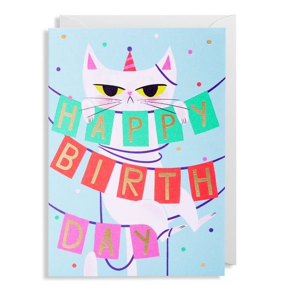 BIRTHDAY BANNER CAT CARD
