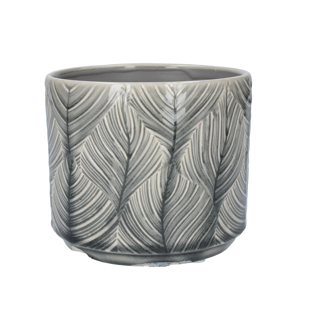 GREY LEAF POT COVER - SML