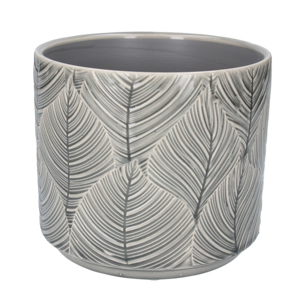 GREY LEAF POT COVER - MED