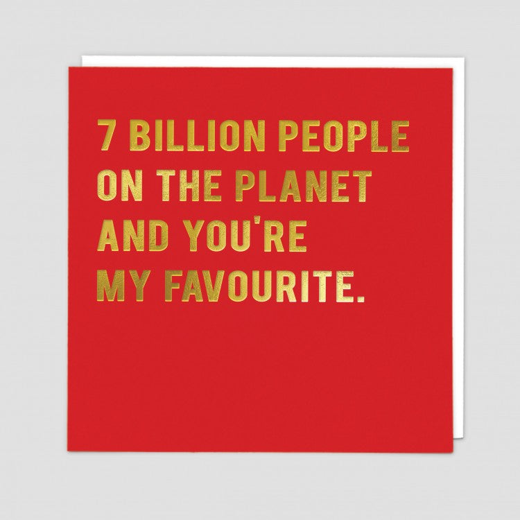 RED 7 BILLION PEOPLE CARD