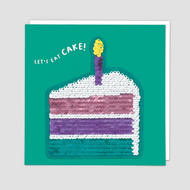LET'S EAT CAKE SEQUIN CARD