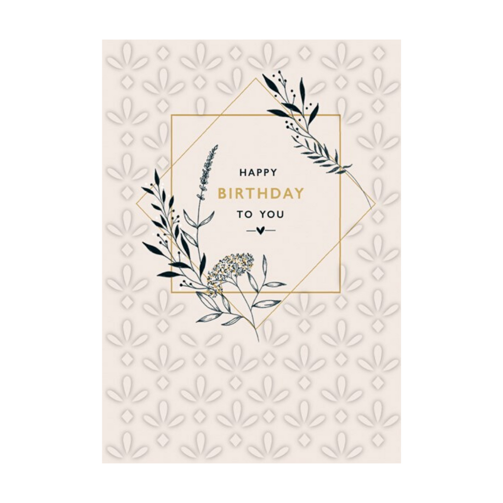GEO FLORAL HAPPY BIRTHDAY CARD