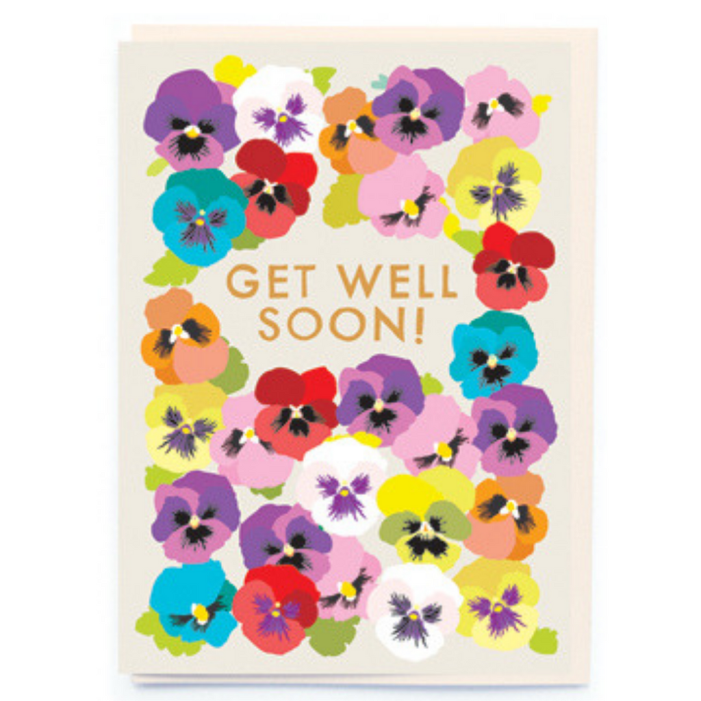 GET WELL SOON PANSY CARD