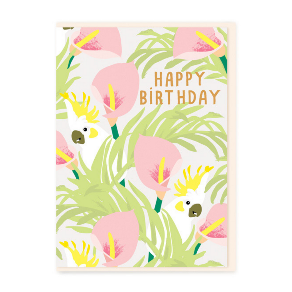 HAPPY BIRTHDAY PALMS & PARROTS CARD