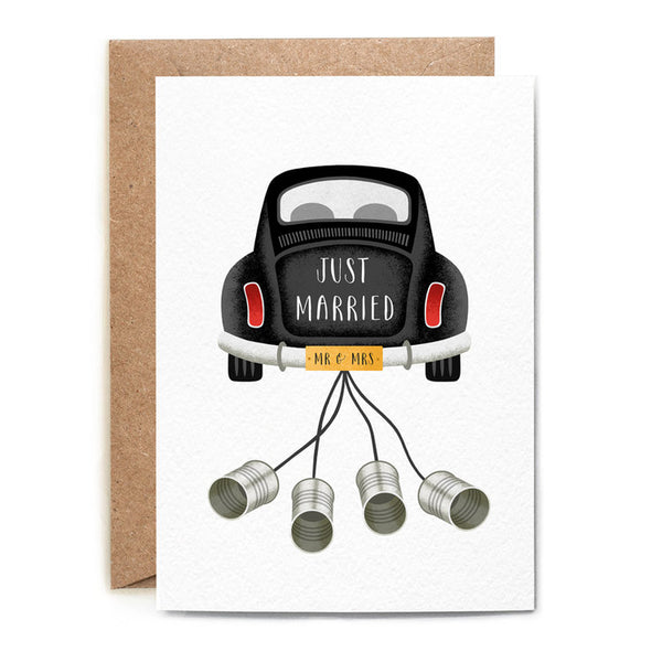 JUST MARRIED BEETLE CARD