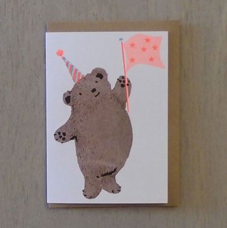 CONFETTI PETS - WAVING BEAR CARD