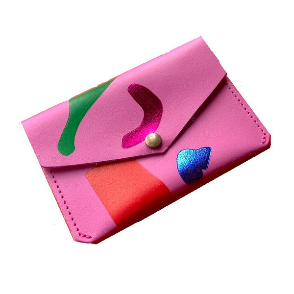 ABSTRACT CARD HOLDER - PINK
