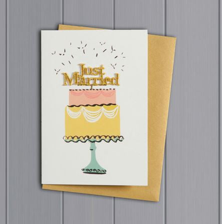 JUST MARRIED CAKE CARD