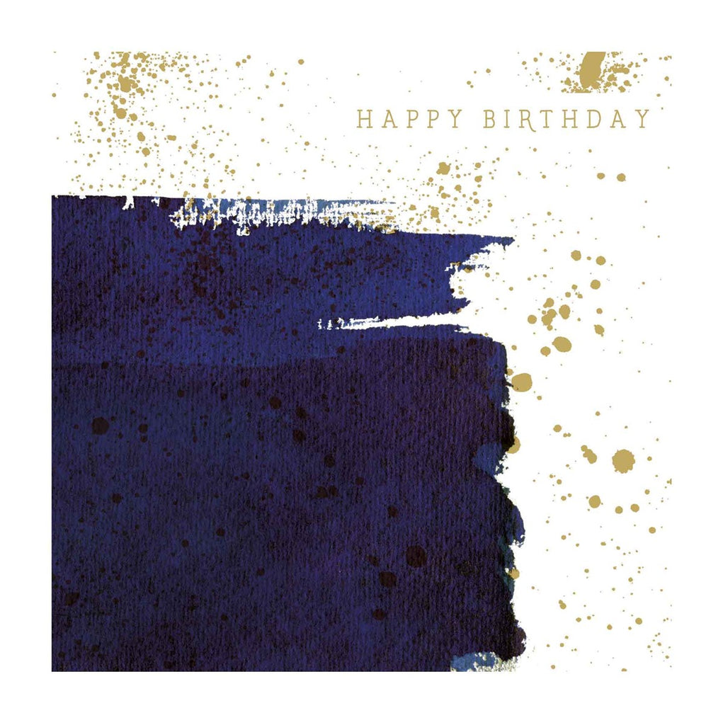 BRUSH BLUE HAPPY BIRTHDAY CARD