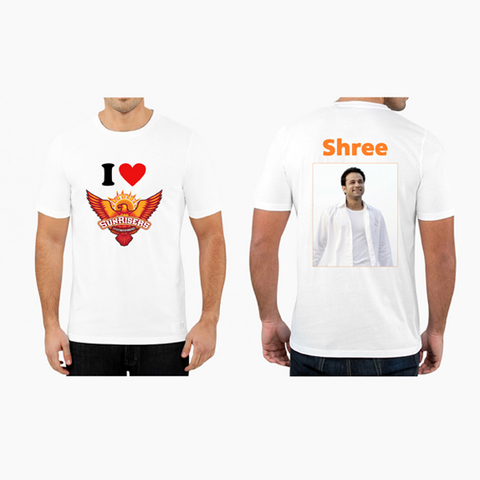 Buy Personalized Photo with Name Sunrises Hyderabad IPL T Shirts Online - Zestpics