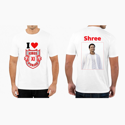Buy Personalized Photo with Name Kings XI Punjab IPL T Shirts Online - Zestpics