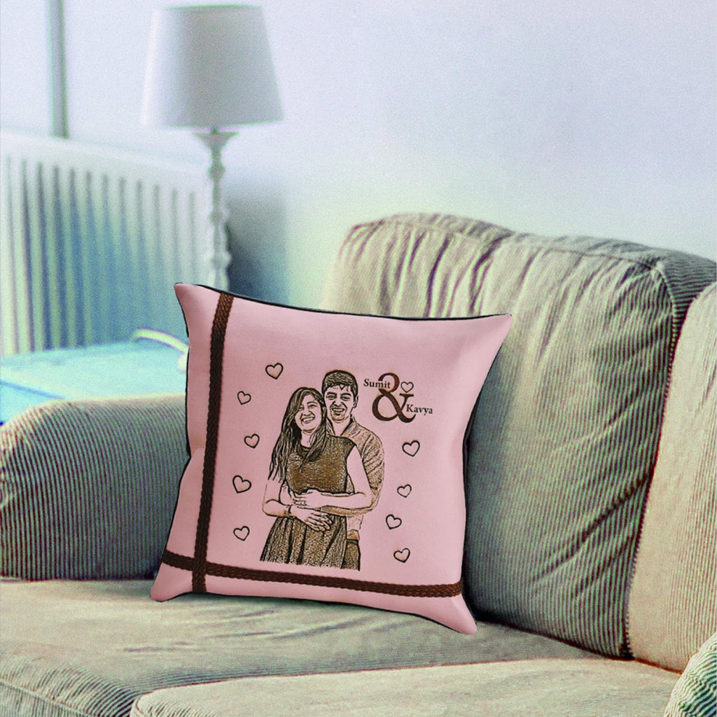 Photo Print on Pillow, Anniversary Gift for Wife, Engraved Leather Pillow