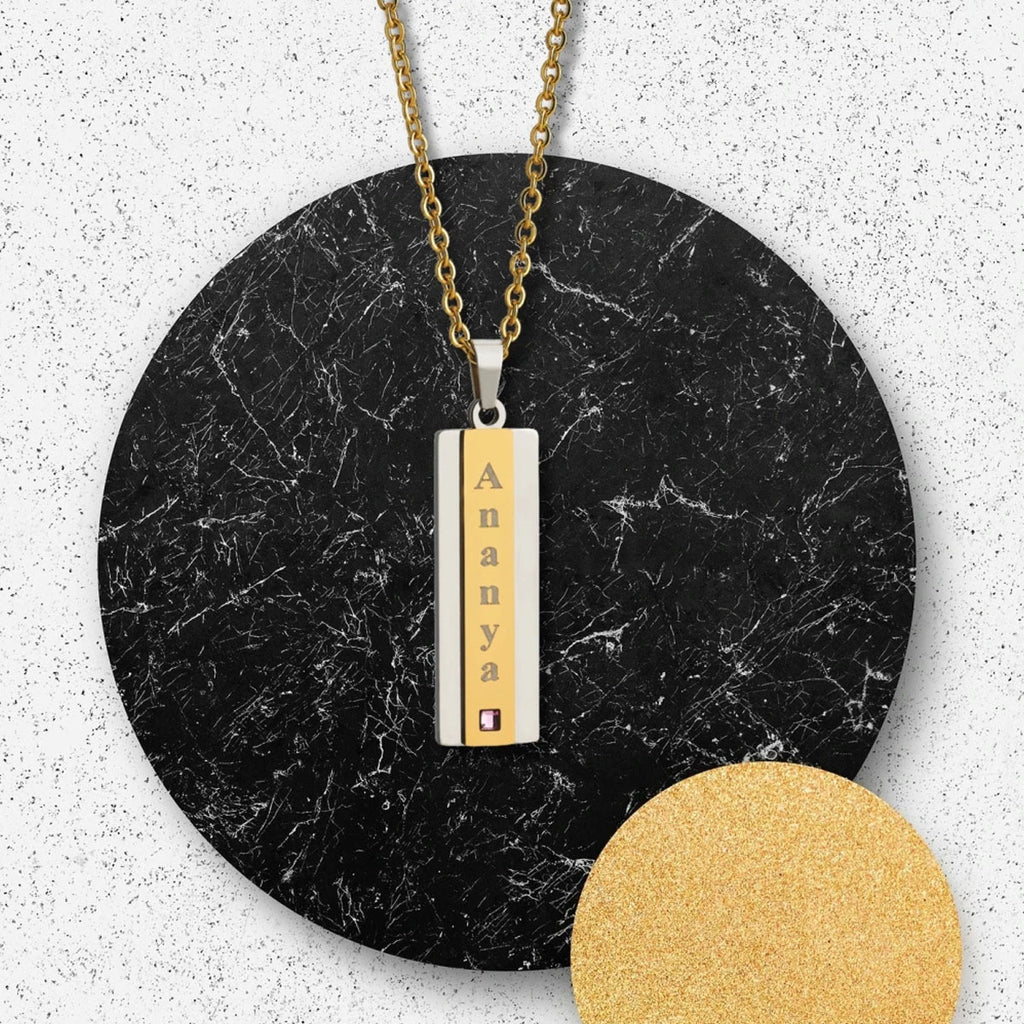 Bar Pendant | Buy Bar Pendant Necklace with Name online at Zestpics