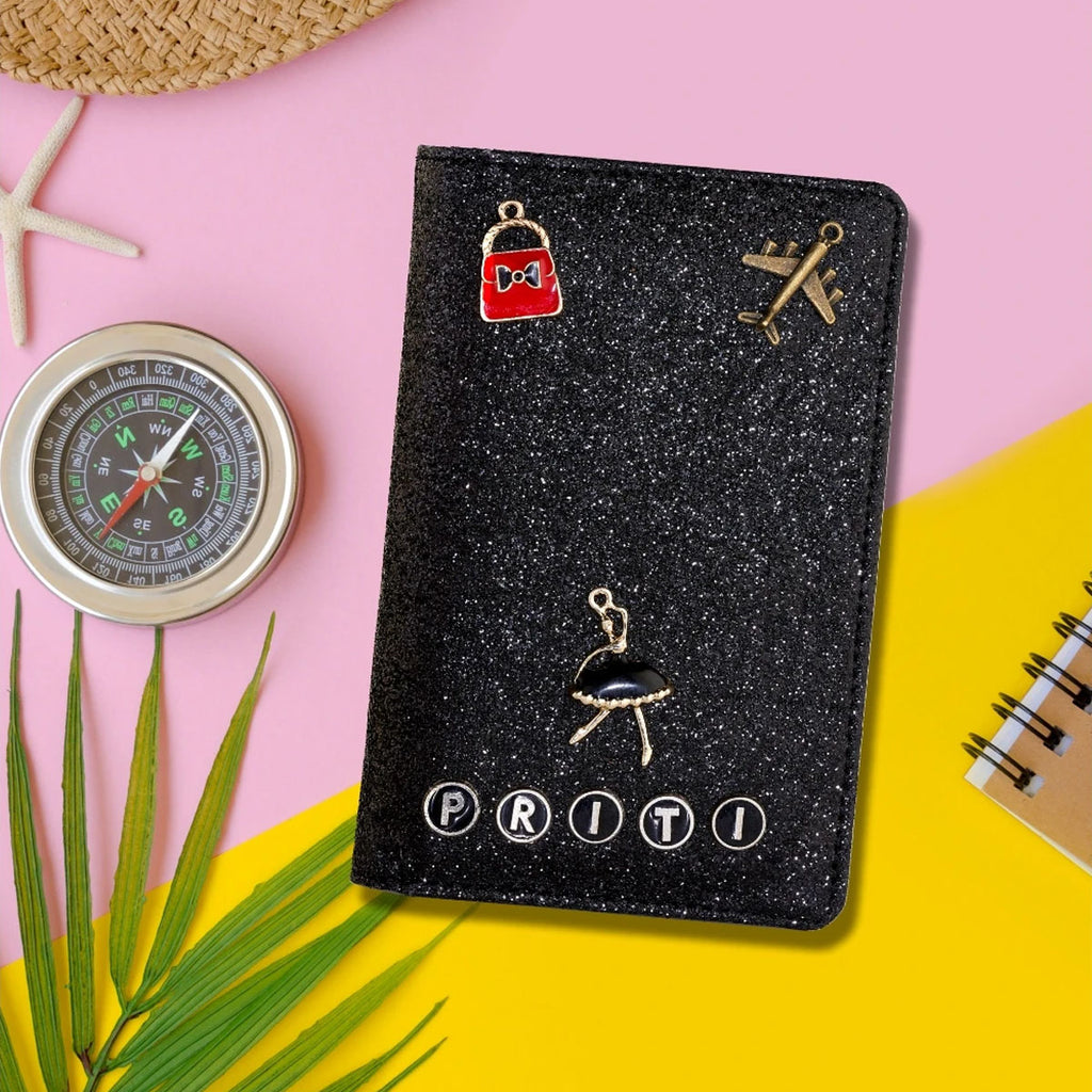 Black Glitter Passport Cover | Persoanlised Passport Cover | Zestpics