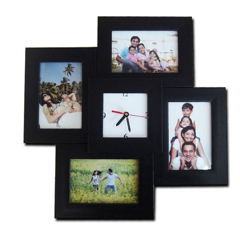 4 Photos 4x6 Clock Frame-Collage Frames-Zestpics