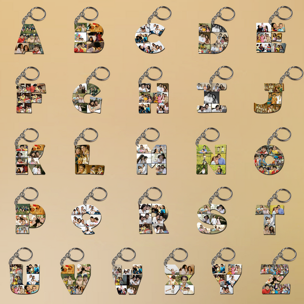 Buy or Send  Alphabet Keyring, personalized with any letter with images Online to India. Create a custom letter art keychain. Custom Alphabet Keychains, Personalized Alphabet Keyrings with personalized images.