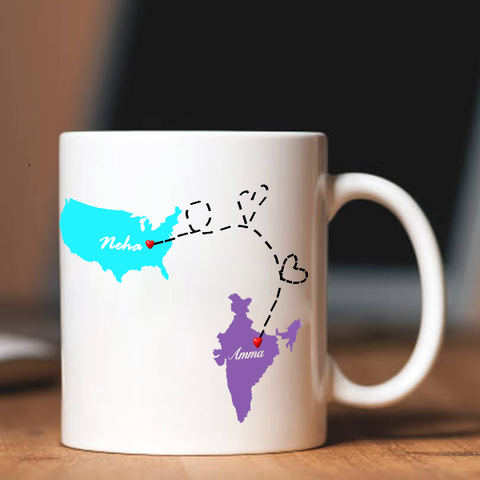 Long Distance State/Country Mug, Custom Long Distance Mom Mug|Zestpics
