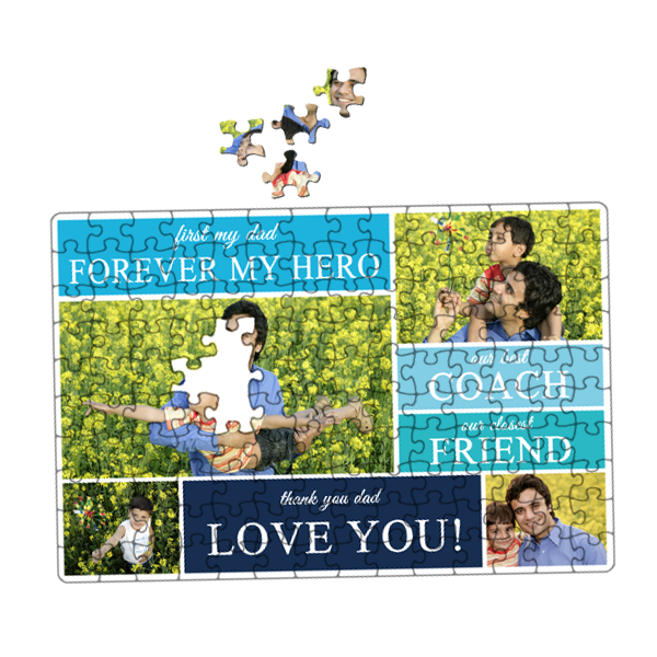 Honor your Dad with a personalized Father's Day gift he'll love. Father's Day is just around the corner, so now is the best time to give dad a photo puzzle, which makes a great visual reminder of the kids he loves so much. Get Dad a beautiful new jigsaw puzzle for Father's Day this year. You can't go wrong with a gift and time spent putting it together!