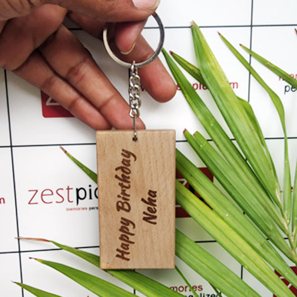 Personalized name wooden key chain. Perfect gift for any occasion. Create a unique Key chain with your favorite photo or design printed on the Key chain. Buy  Personalized Wood Key chain at lowest price. | Zestpics