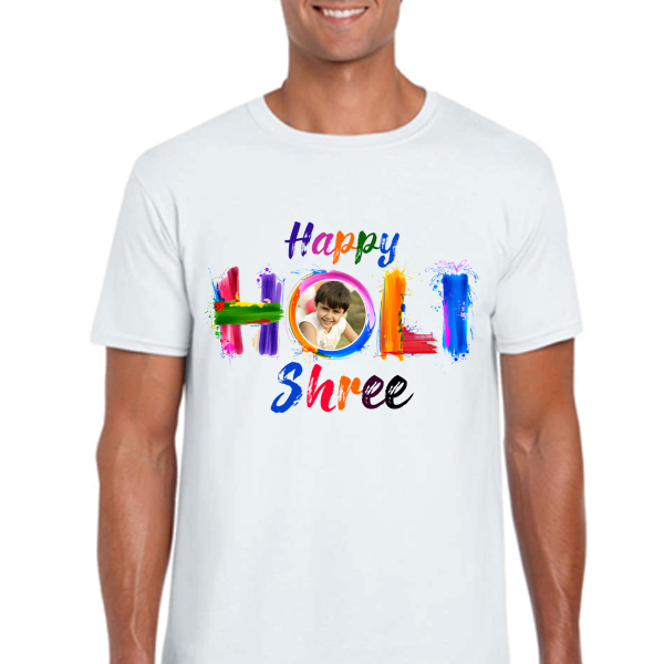 Buy Custom Holi T Shirts with Photo & Text Printed Online in India|Zestpics