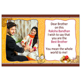 A photo rakhi greeting card for your brother would be just the right gift on rakhi. Express your heart by personalizing the card & rakhi with your personal message and photos.