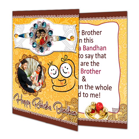 Send Photo Rakhi with Greeting Card to India, Personalized Photo Rakhi