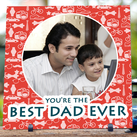 Best Dad Ever Tile | Personalized Father's Day Photo Gifts - Zestpics