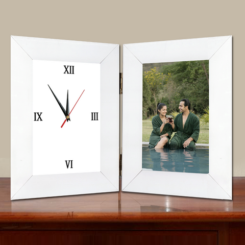 Clock with photo frames, Photo frame clock online, Photo Clocks, Personalized photo clocks are the perfect gift for any occasion, 4x6 folded clock frame, picture frame clock, personalized photo with table clock | Zestpics