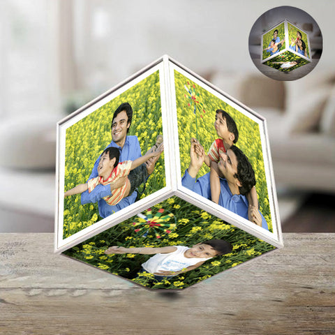 This personalized photo gift is perfect for making anyone feel special. It is a unique Acrylic led rotating photo cube which is perfect for home decoration. Six photos can be placed on this Acrylic led rotating cube. It gives a nice display for your favorite photographs. It runs on 3 nos AAA battery. Such a delightful personalized cube will surely make them feel special and show them how much they mean to you.