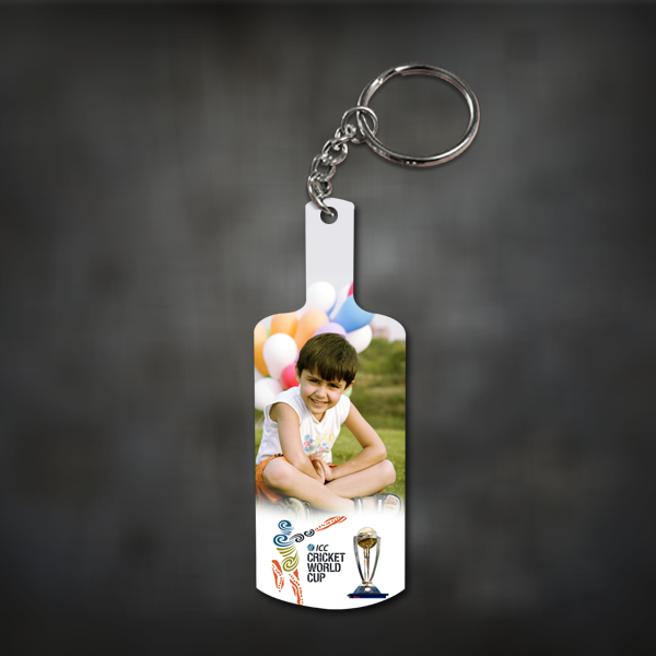 Personalized Photo Cricket Bat Key chain | Custom Cricket Bat KeyRing | Zestpics