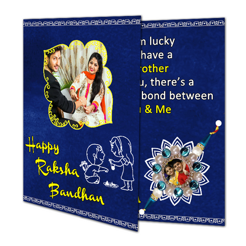 Photo Rakhi with Greeting Card Combo