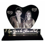 Heart Led Acrylic Frame, Heart Shaped Glass - Engraved Photo & Message, Valentine Gifts