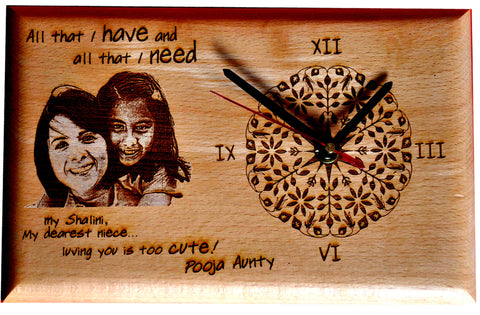 Wooden Clock with Photo Engraving-Zestpics