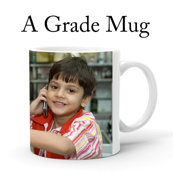 A Grade Super White Mug, Printing with American Inks, Life of Photo is 9 to 10 Years.