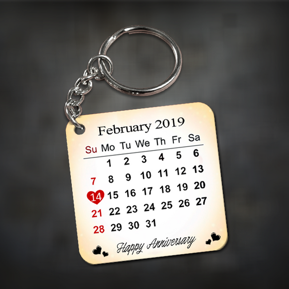 Buy/ Send Personalized Anniversary Calendar Date Keychain India