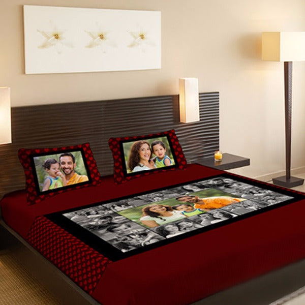 Personalized Photo Collage Double Bedsheet, Custom Photo Bedsheets, Zestpics